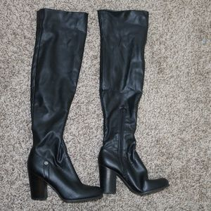 Black Guess Knee High Boots